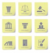 stock photo of jury  - An illustration of law icons on yellow slips - JPG