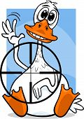 stock photo of unawares  - Cartoon Humor Concept Illustration of Sitting Duck Saying or Proverb - JPG