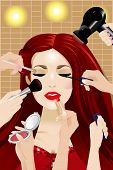 picture of face-powder  - A vector illustration of many hands applying makeup to a woman - JPG