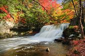 picture of waterfalls  - View of a Connecticut waterfall during the fall season - JPG