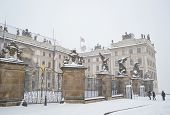 stock photo of winter palace  - Palace in Prague Castle at winter during a heavy snowfall Czech Republic - JPG