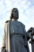 stock photo of christopher columbus  - A Memorial Statue of Christopher Columbus in Pittston - JPG