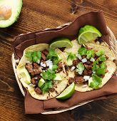 foto of tacos  - overhead view of two traditional tacos in a basket - JPG