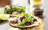 stock photo of tacos  - authentic mexican tacos with beef - JPG