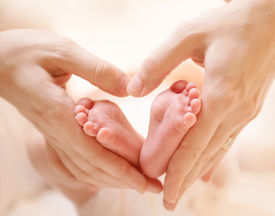 foto of human toe  - Baby feet in mother hands - JPG