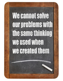 stock photo of albert einstein  - We cannot solve our problems with the same thinking we used when we created them  - JPG