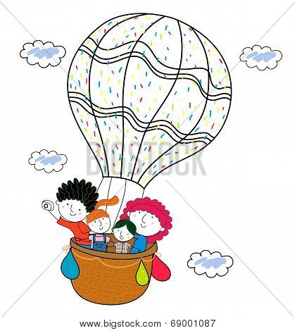 Family and hot balloon