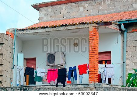 Laundry Line And Rough Walls