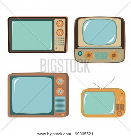 Set Of Four Illustrations Retro Tv