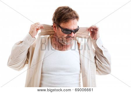 Middle aged man in sunglasses and shirt with turned up collar, trying to be cool.  Isolated on white.