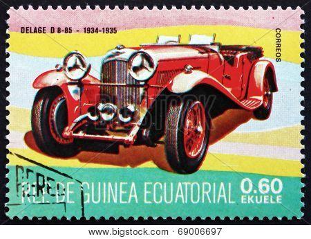 Postage Stamp Equatorial Guinea 1977 Delage D8-85, Oldtimer