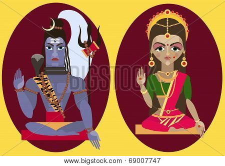 vector lord Shiva and mata Parvati