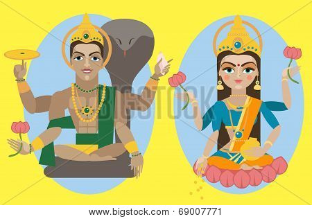 vector lord Vishnu and mata Lakshmi
