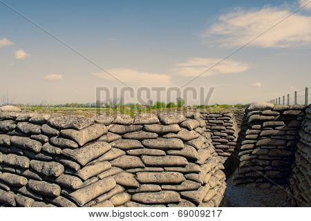 Trenches Of World War One Sandbags In Belgium