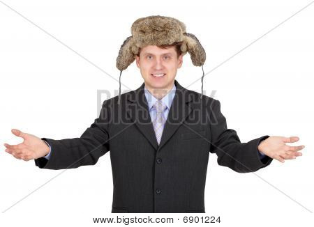 Hospitable Funny Man With A Fur Hat