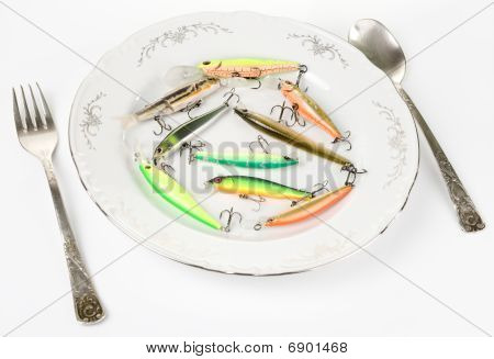 Porcelain Plate With Plastic Fishing Lures Isolated On White