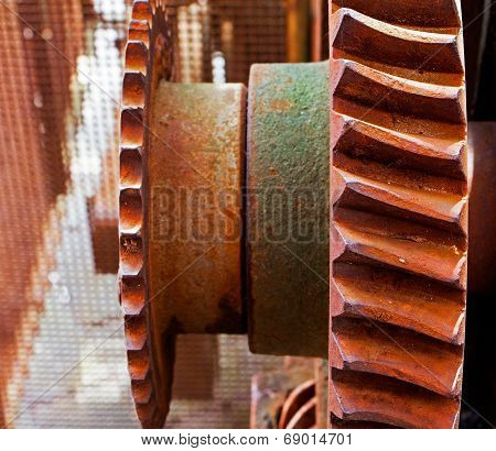 Old And Rusty Pinion Gear Of The Machine