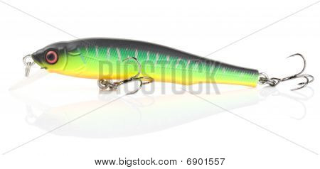 Plastic Fishing Lure (wobbler) Isolated On White