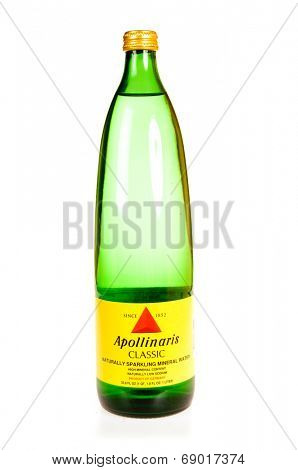 Hayward, CA - July 24, 2014: 1 Liter bottle of Apollinaris classic naturally sparkling mineral water imported from Germany