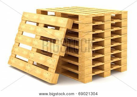Shipping Pallets Isolated On White Background
