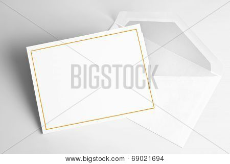 Blank invitation card and envelope