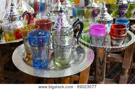 Moroccan traditional Tea - cups , Marrakesh souq, Morocco