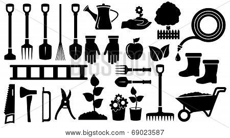 set black garden tools