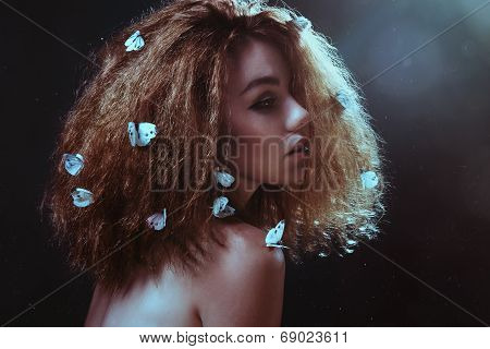 Woman and butterflies