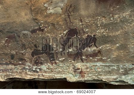 Rock drawing of long past San people (Bushman) in Giants Castle Cave