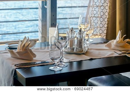 Laid Table By The Sea