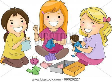 Illustration of a Group of Girls Sewing Clothes for Their Dolls