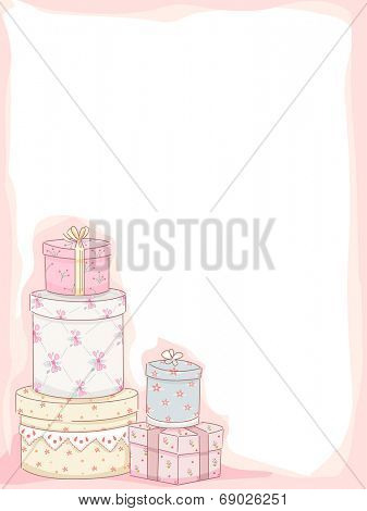 Frame Illustration Featuring Stacks of Gift Boxes with a Shabby Chic Design