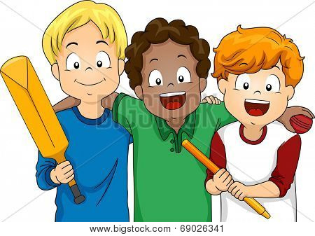 Illustration Featuring a Group of Boys Ready to Play Cricket