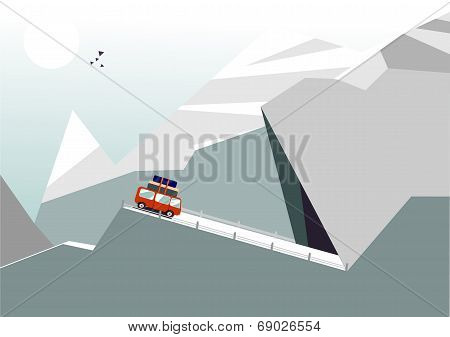 Mountain Landscape With Bus