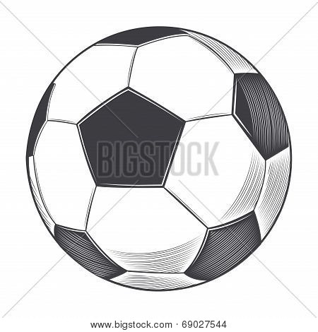 Football Ball Isolated On White Background. Line Art. Vector Illustration