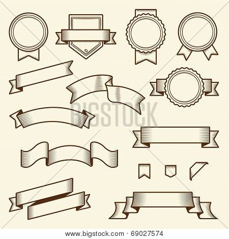 Set Of Vintage Ribbons And Labels Isolated On White Background. Line Art. Modern Design. Vector Illu