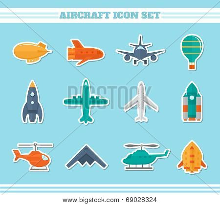 Aircraft icons stickers