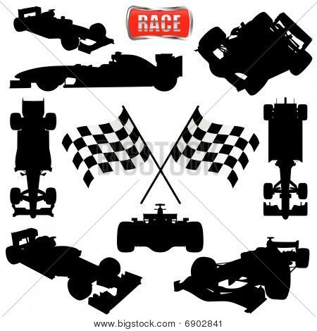 race cars  flag and icon  Race Car Icon