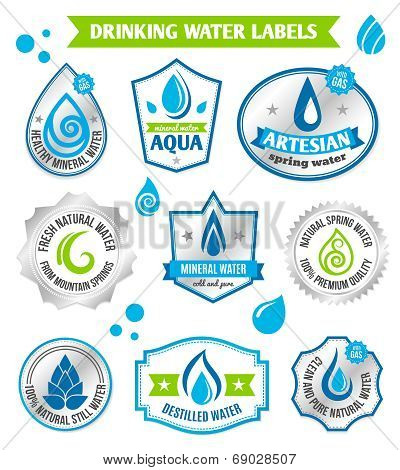 Set of water drops label