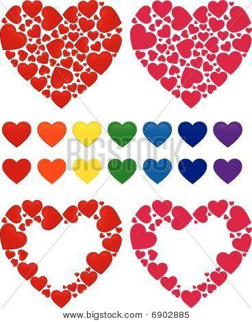Heart mosaic, frame and rainbow set