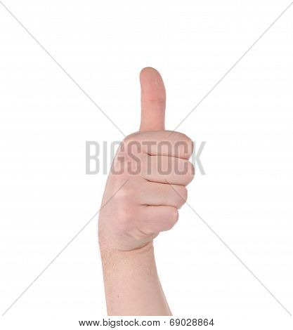 Man's hand shows thumbs up.