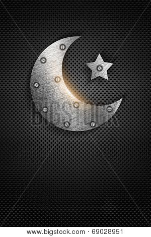 Metal Ramadan Kareem Card With Moon And Star