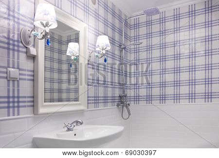 Beautiful Blue And White Bathroom