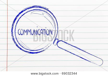 Magnifying Glass Focusing On Marketing And Communication