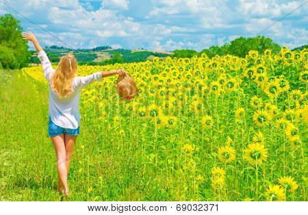 Happy woman walking on sunflower field in sunny day, raised up hands, beautiful landscape, European nature, farming concept