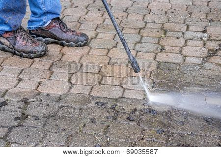 Power Wash Patio Stones