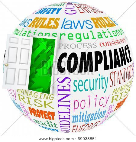 Compliance words globe following rules, regulations, standards and laws in business life