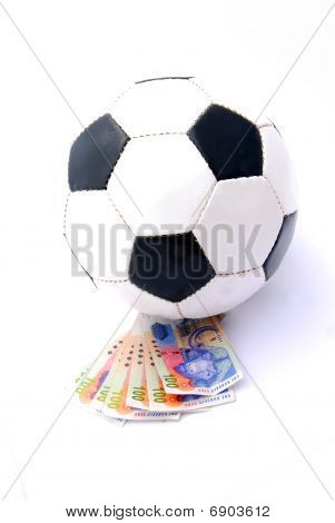 Soccer ball with South African Rands money