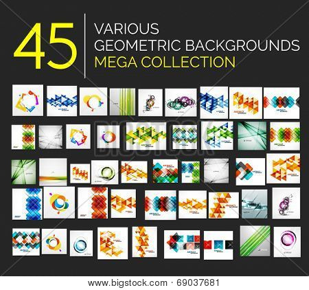 Set of various geometricabstract backgrounds - 45 abstract design templates ready to use - huge  mega collection