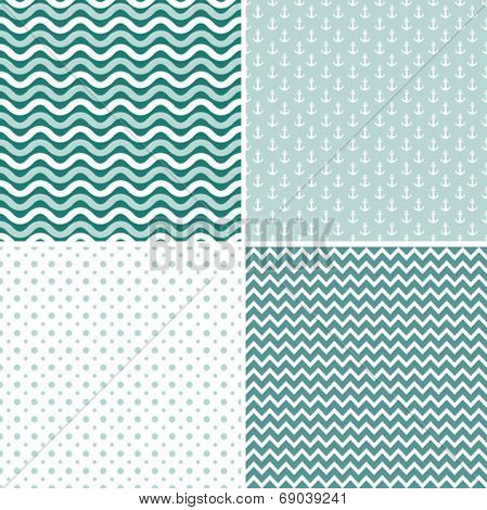Seamless sea pattern, vector illustration